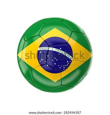 3d soccer ball with brazil flag - stock photo