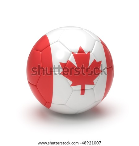 3D soccer ball with Canadian flag, world football cup 2010. Isolated on white - stock photo