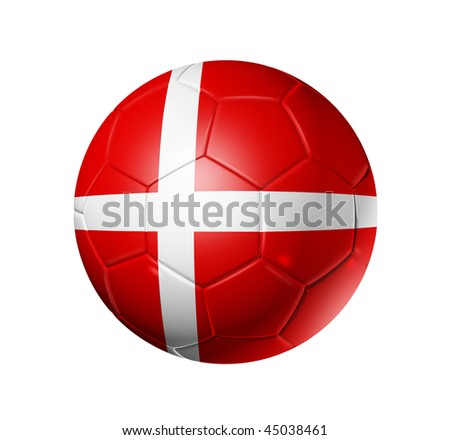 3D soccer ball with Denmark team flag, world football cup 2010. isolated on white with clipping path - stock photo