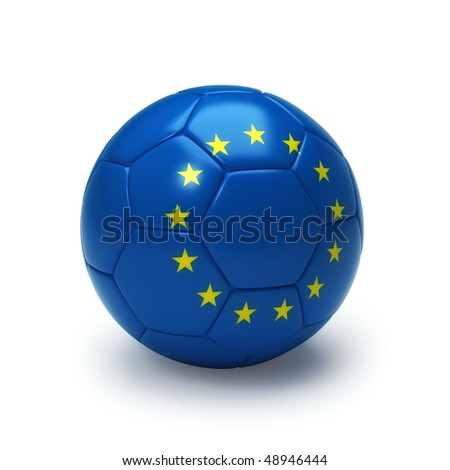 3D soccer ball with Europe team flag, world football cup 2010. Isolated on white - stock photo