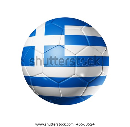 3D soccer ball with Greece team flag, world football cup 2014. isolated on white with clipping path - stock photo
