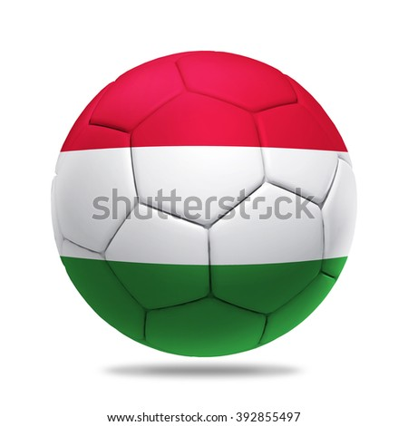 3D soccer ball with Hungary team flag, isolated on white - stock photo
