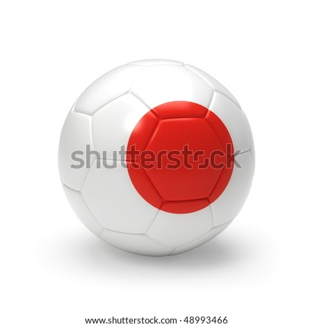 3D soccer ball with Japan team flag, world football cup 2010. Isolated on white - stock photo