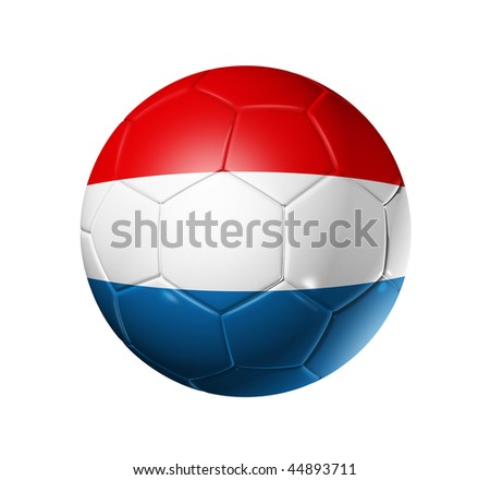 3D soccer ball with Netherlands team flag, world football cup 2014. isolated on white with clipping path - stock photo
