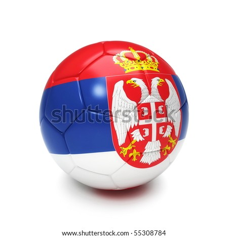 3D soccer ball with Serbian flag isolated on white - stock photo