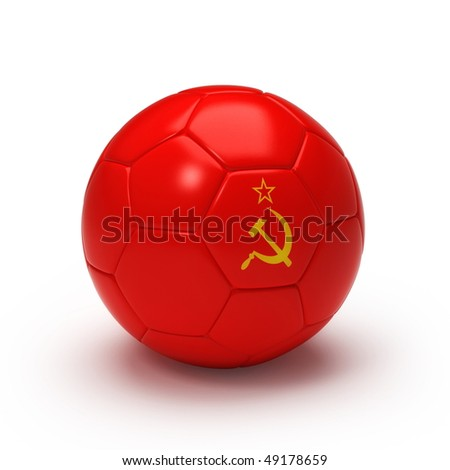 3D soccer ball with Soviet flag, world football cup 2010. Isolated on white - stock photo