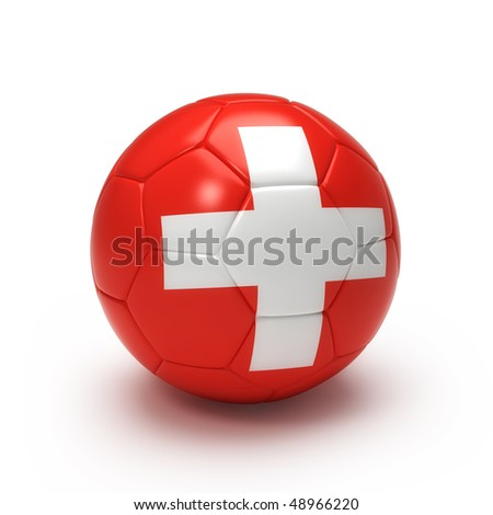 3D soccer ball with Switzerland team flag, world football cup 2010. Isolated on white - stock photo