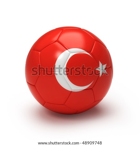 3D soccer ball with Turkeyteam flag, world football cup 2010. Isolated on white with - stock photo