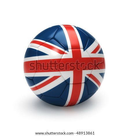 3D soccer ball with United Kingdom flag, world football cup 2010. Isolated on white - stock photo