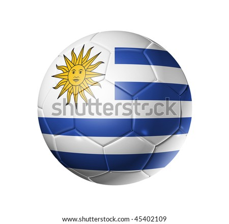3D soccer ball with Uruguay team flag, world football cup 2014. isolated on white with clipping path - stock photo