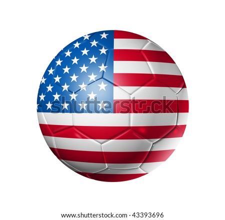 3D soccer ball with USA team flag, world football cup 2014. isolated on white with clipping path - stock photo