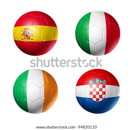 3D soccer balls with group C teams flags. UEFA euro football cup 2012. isolated on white - stock photo