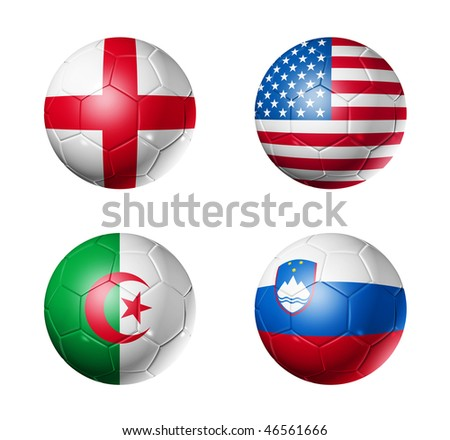 3D soccer balls with group C teams flags, world football cup 2010. isolated on white - stock photo