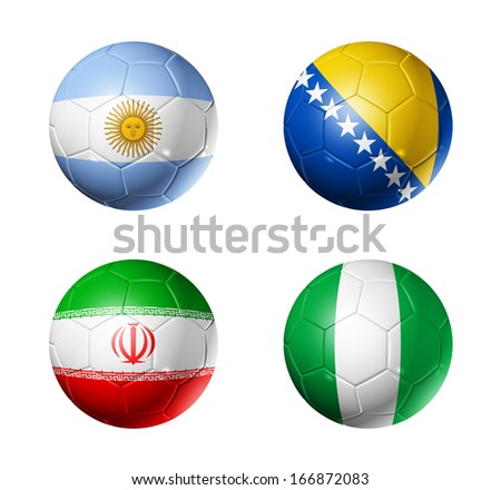 3D soccer balls with group F teams flags, Football Brazil 2014. isolated on white - stock photo
