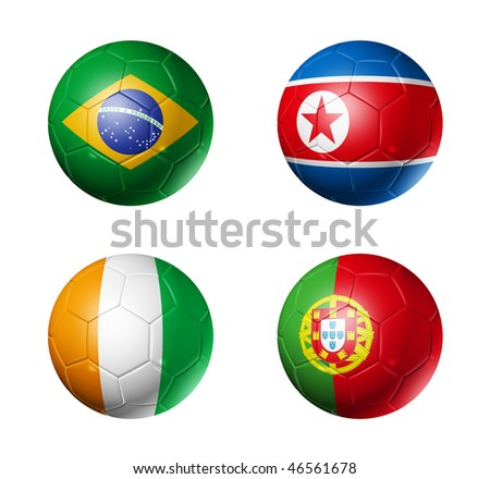 3D soccer balls with group G teams flags, world football cup 2010. isolated on white - stock photo