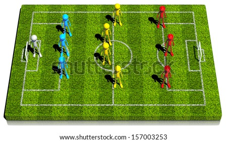 3d soccer formation Three - four - three total football system. 3d rendered on white background. - stock photo
