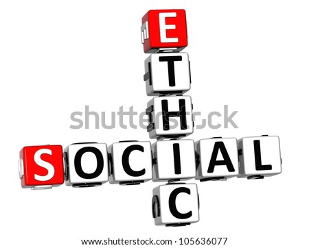 3D Social Ethic Crossword on white background - stock photo
