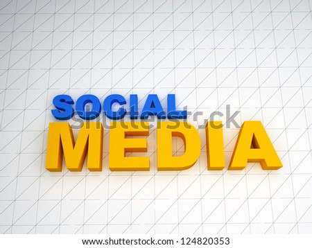 3d social media text on white background - stock photo