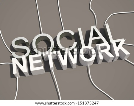 3D social network text connected wire from different directions - stock photo