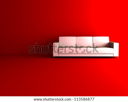 3d sofa in red room - stock photo