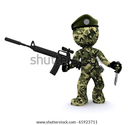 3d soldier isolated on white background - stock photo