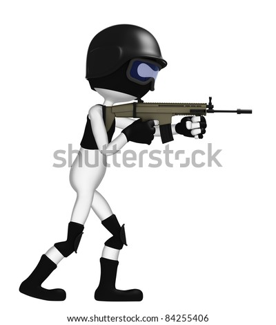 3D soldier with a rifle isolated on white background - stock photo
