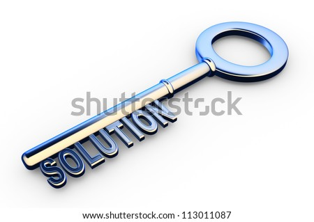 3d solutions key - key with Solutions text as symbol for success in business. Conceptual image - stock photo