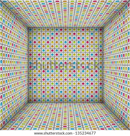 3d sound - system mosaic square tiled empty space - stock photo