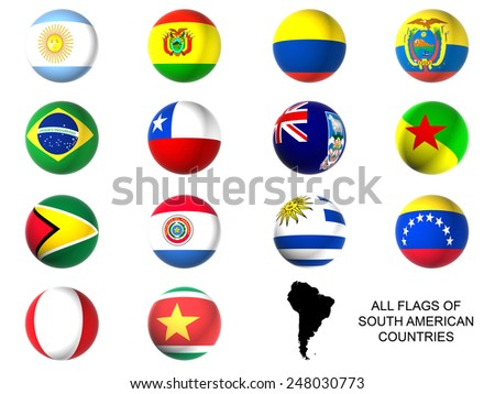 3D South america state flags - stock photo