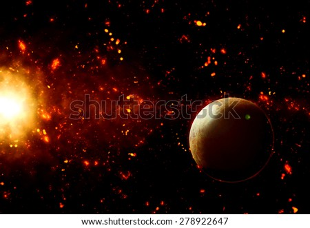 3D space background with fictional planet - stock photo