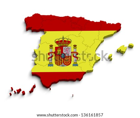 3d Spain flag map on white isolated - stock photo