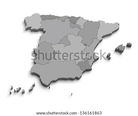 3d Spain gray map on white isolated - stock photo