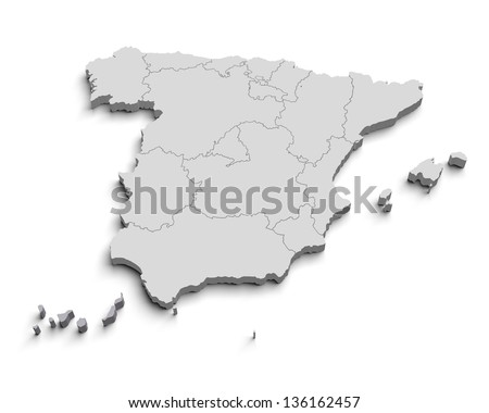3d Spain white map isolated - stock photo