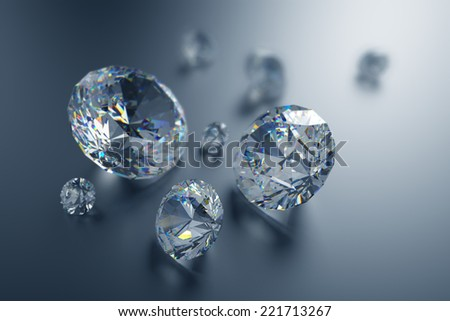 3d sparkling brilliants and diamonds background - stock photo