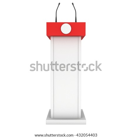 3d Speaker Podium. White and Red Tribune Rostrum Stand with Microphones. 3d render isolated on white background. Debate, press conference concept - stock photo