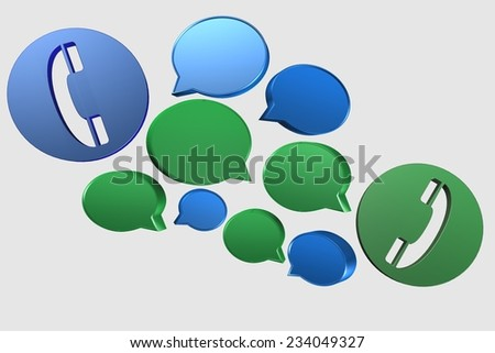 3D speech bubbles and phones conversation symbol suitable for business, communication and technology - stock photo