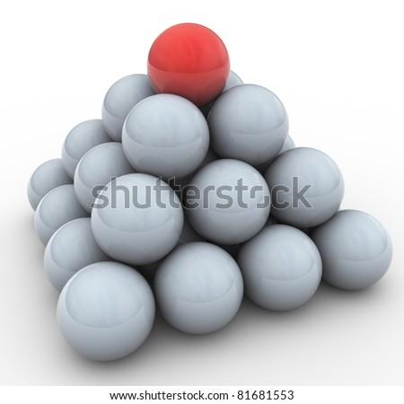 3d spheres pyramid. Concept of leadership, teamwork, unique - stock photo