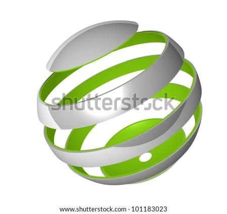 3d spherical design element - stock photo