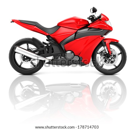3D Sports Motorcycle - stock photo