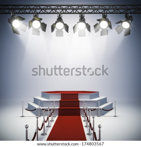 3d spot lights and stage setup - stock photo