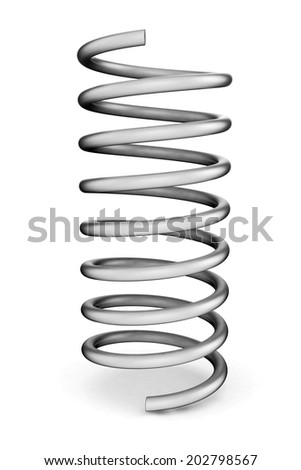 3d spring isolated on white - stock photo