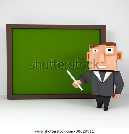 3D square Professor. Elegant Character with a Big, Blank Blackboard - stock photo
