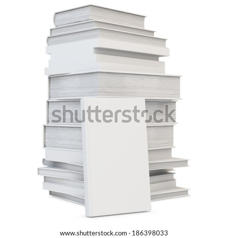 3d stack of blank books cover, studying illustration. Back to school concept on white background - stock photo