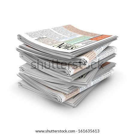 3d stack of Newspapers  - stock photo