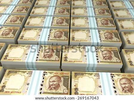 3D stack Piles of India money - stock photo