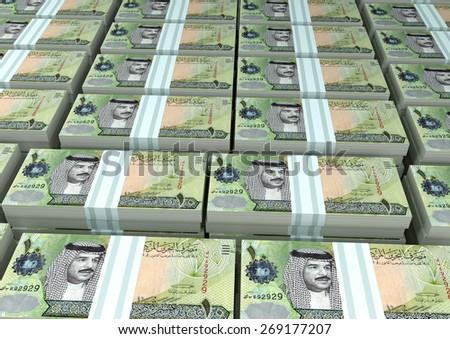 3D stack Piles of Kingdom of Bahrain money - stock photo