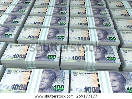 3D stack Piles of South Africa money - stock photo