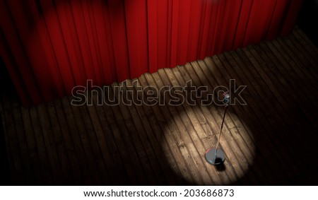 3d stage with red curtain and vintage microphone in spot light, top view  - stock photo