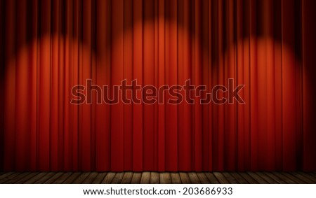 3d stage with red curtain and wooden floor in spot lights   - stock photo