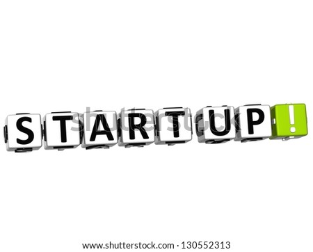 3D Start Up Button Click Here Block Text over white background - stock photo